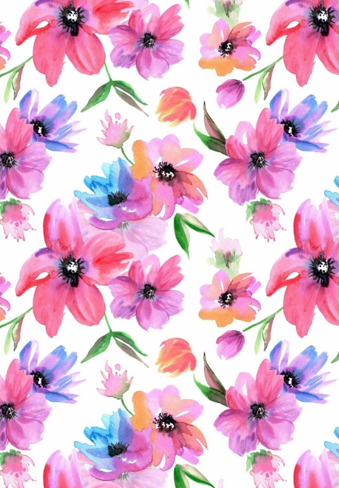 Watercolor Seamless Patterns With Pink And Purple Flowers In 2020 Flower Phone Wallpaper Floral Background Floral Wallpaper
