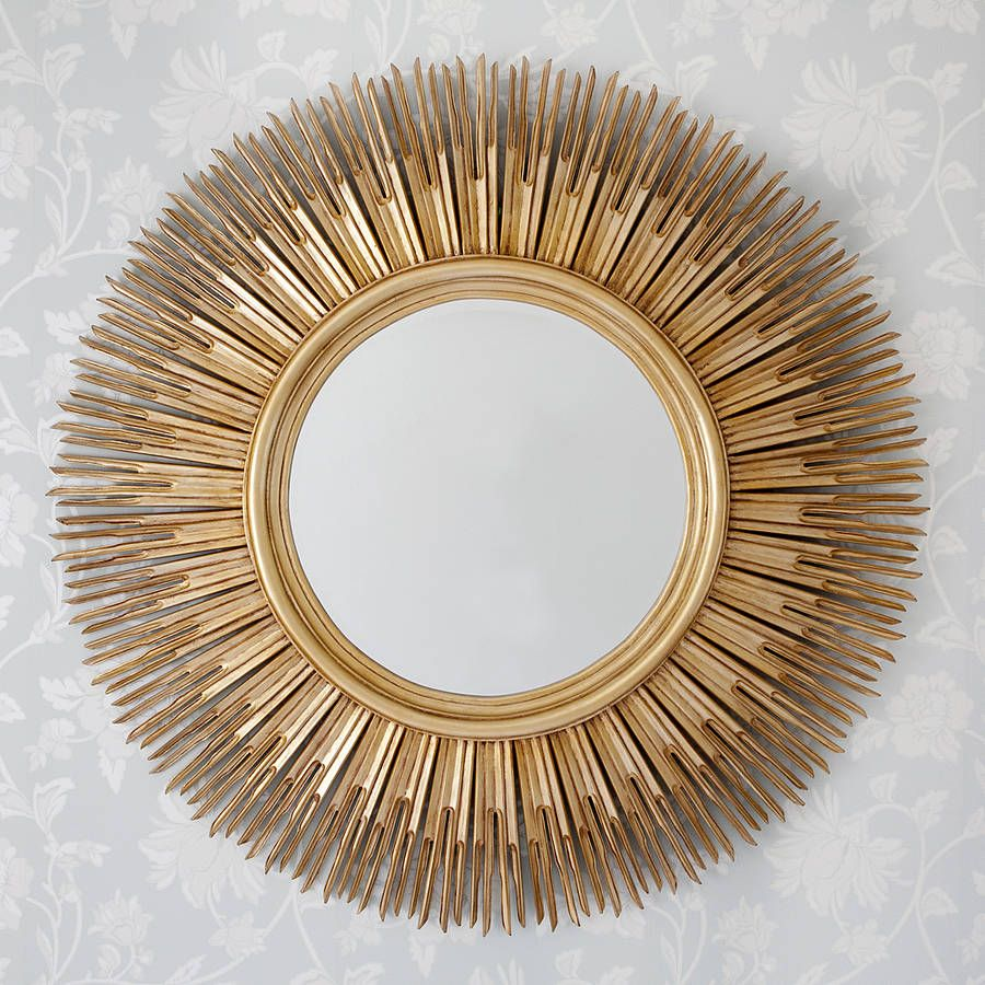 Inca contemporary sun mirror large round mirror for Large round gold mirror