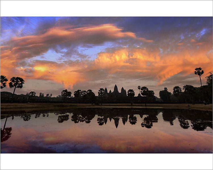 Photograph-dramatic sunrise sky over angkor wat complex siemreap-10