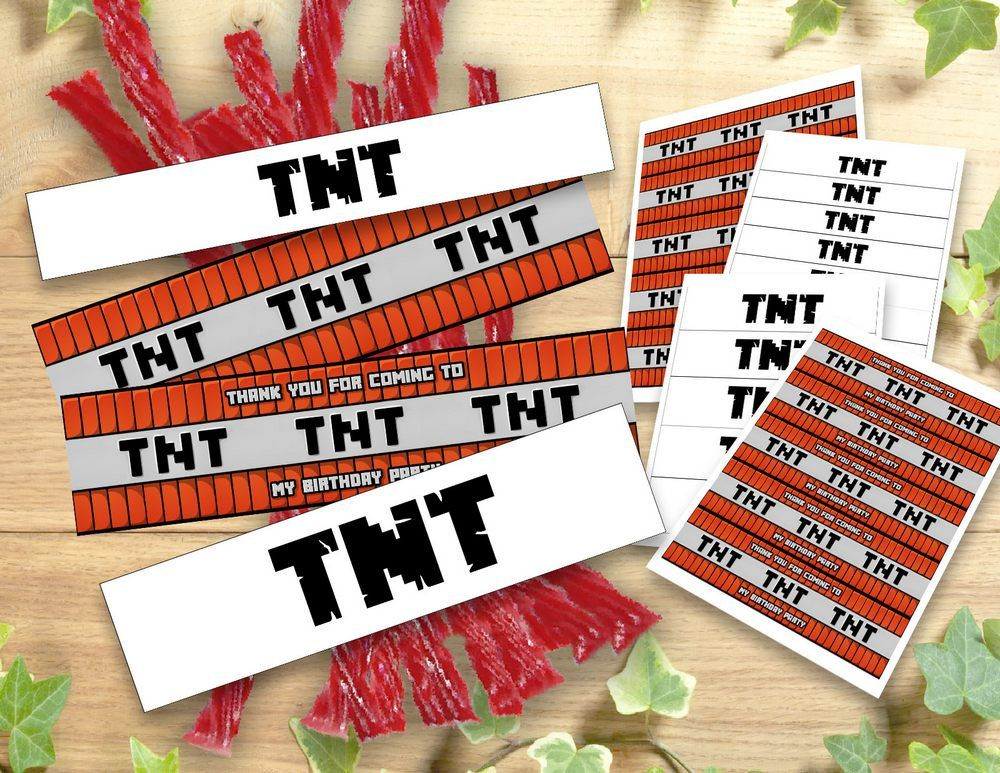 Mine Themed TNT Labels Wraps Birthday Party Printable Wrappers Decoration Food Tent Wrap Labels Buffet  sc 1 st  Pinterest & Mine Themed TNT Labels Wraps Birthday Party Printable Wrappers ...