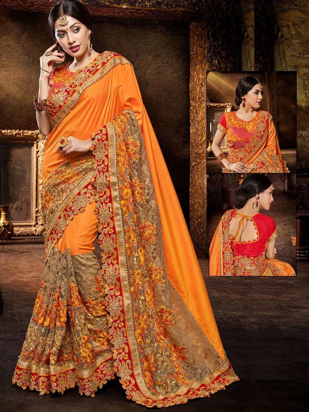 Indian Designer Saree Organza Silk Heavy Embroidery Work Sari Party Wear Bridal Pakistani Fancy Sari MA