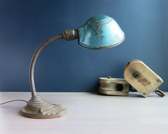 Antique gooseneck desk lamp | Art deco lamp | Rustic industrial ...