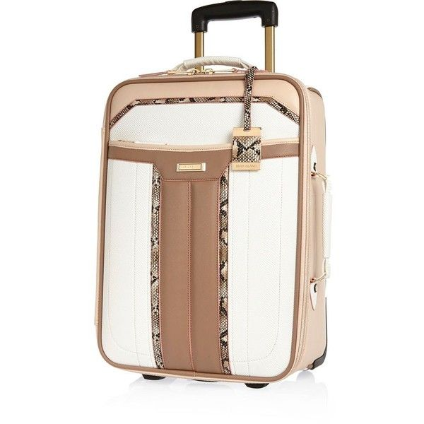 River Island White panelled wheelie suitcase (£70) ❤ liked on Polyvore featuring bags and luggage