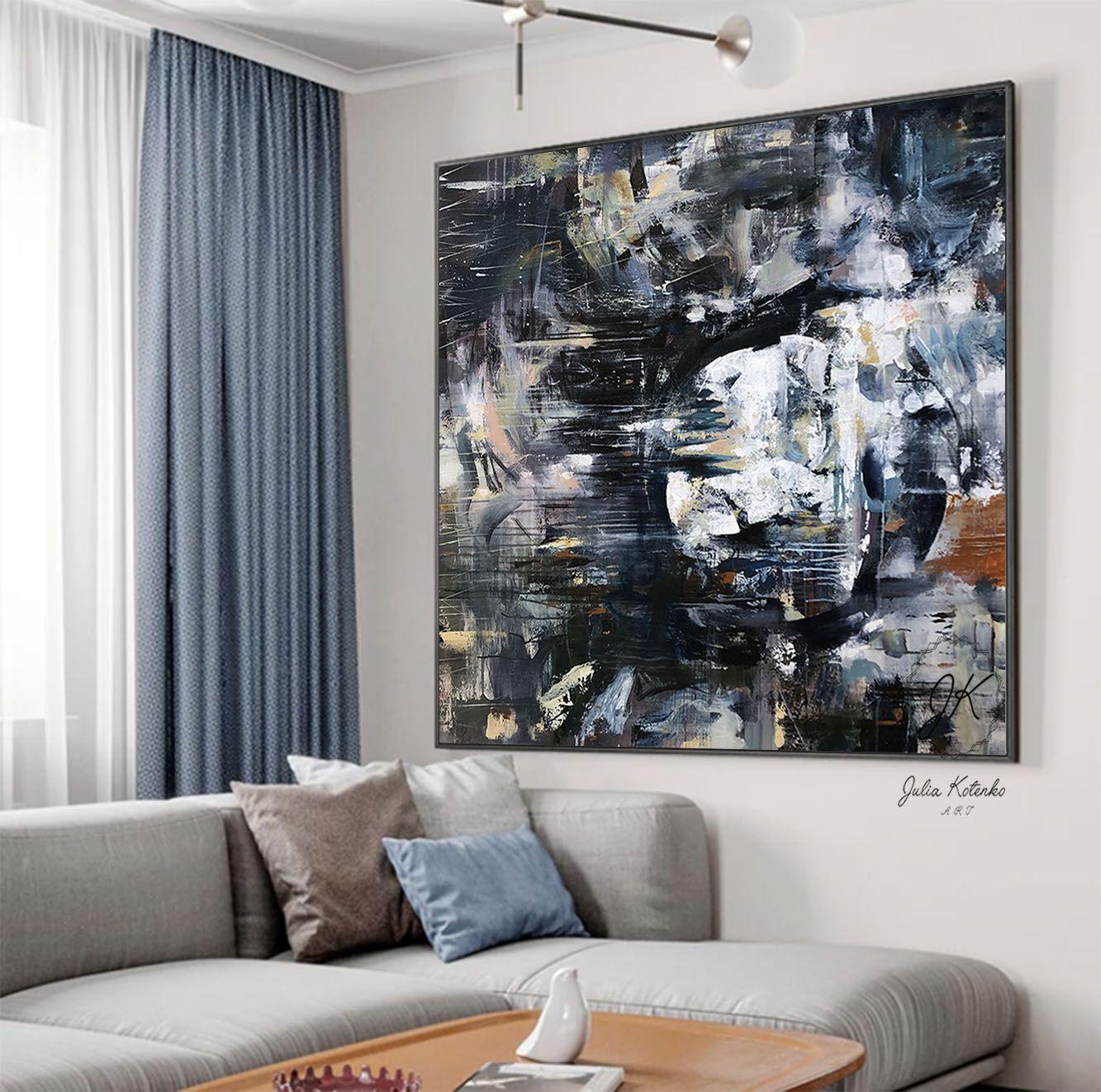 Extra Large Wall Art Navy Blue Wall Art Dark Abstract Painting