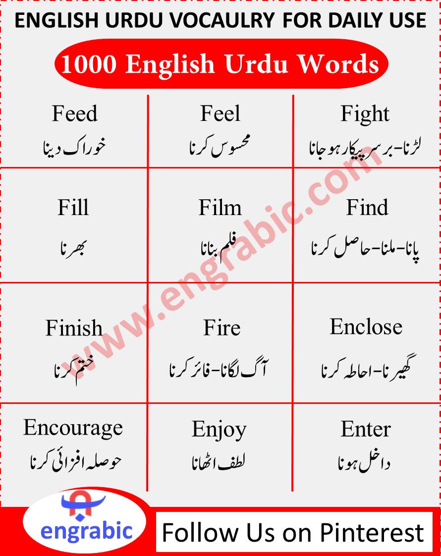 English to Urdu Meaning   Learn english words, Urdu words, English ...