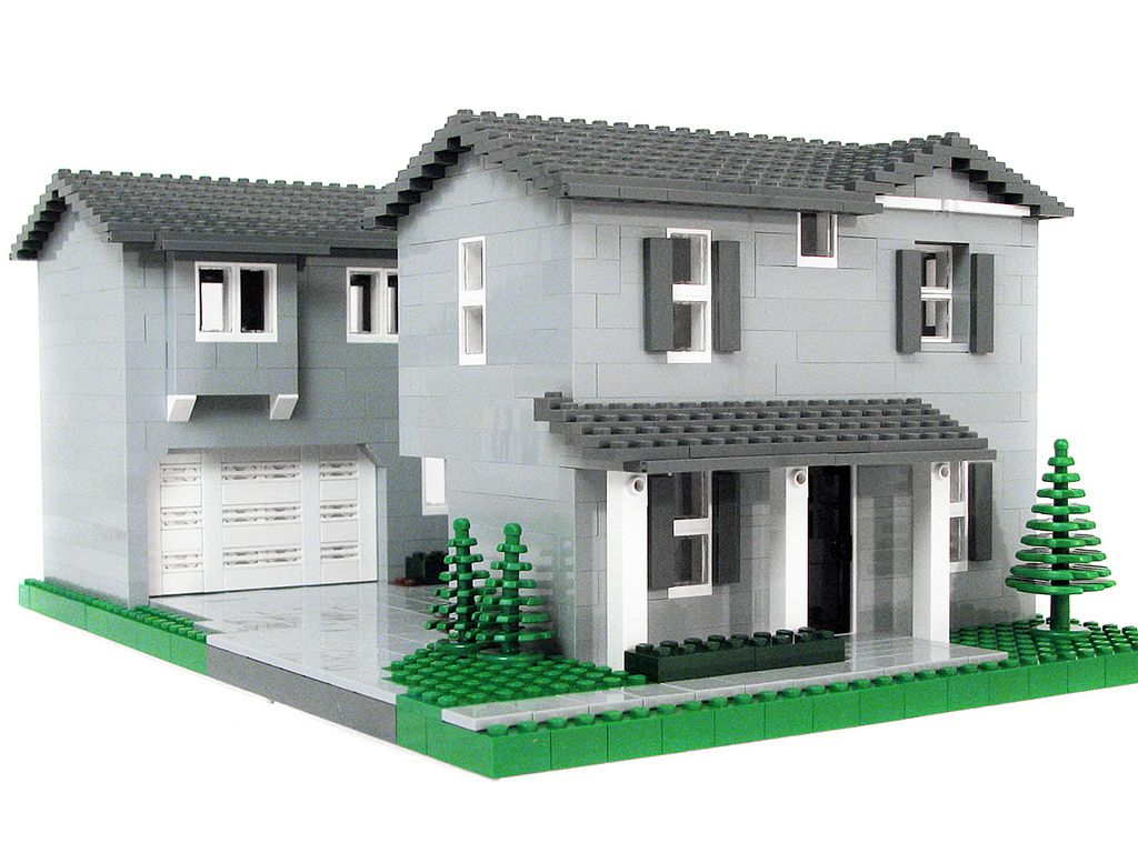 After looking at all the other houses on the block, I opted to do the grey  house because that& what I had enough pieces for.