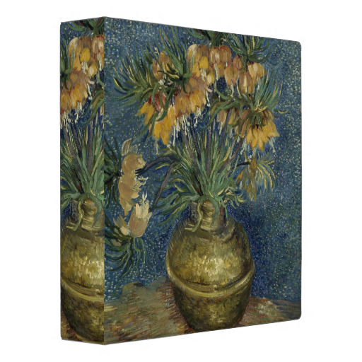 Imperial Fritillaries in Copper Vase by Van Gogh 3 Ring Binder