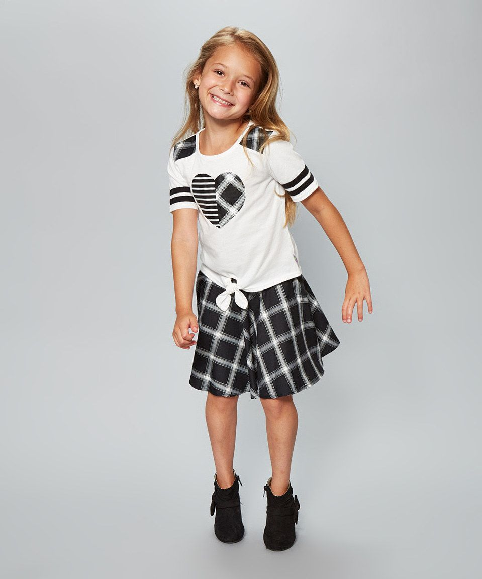 Take a look at this Dollie & Me Black & White Plaid Skirt Set & Doll Outfit - Girls today!