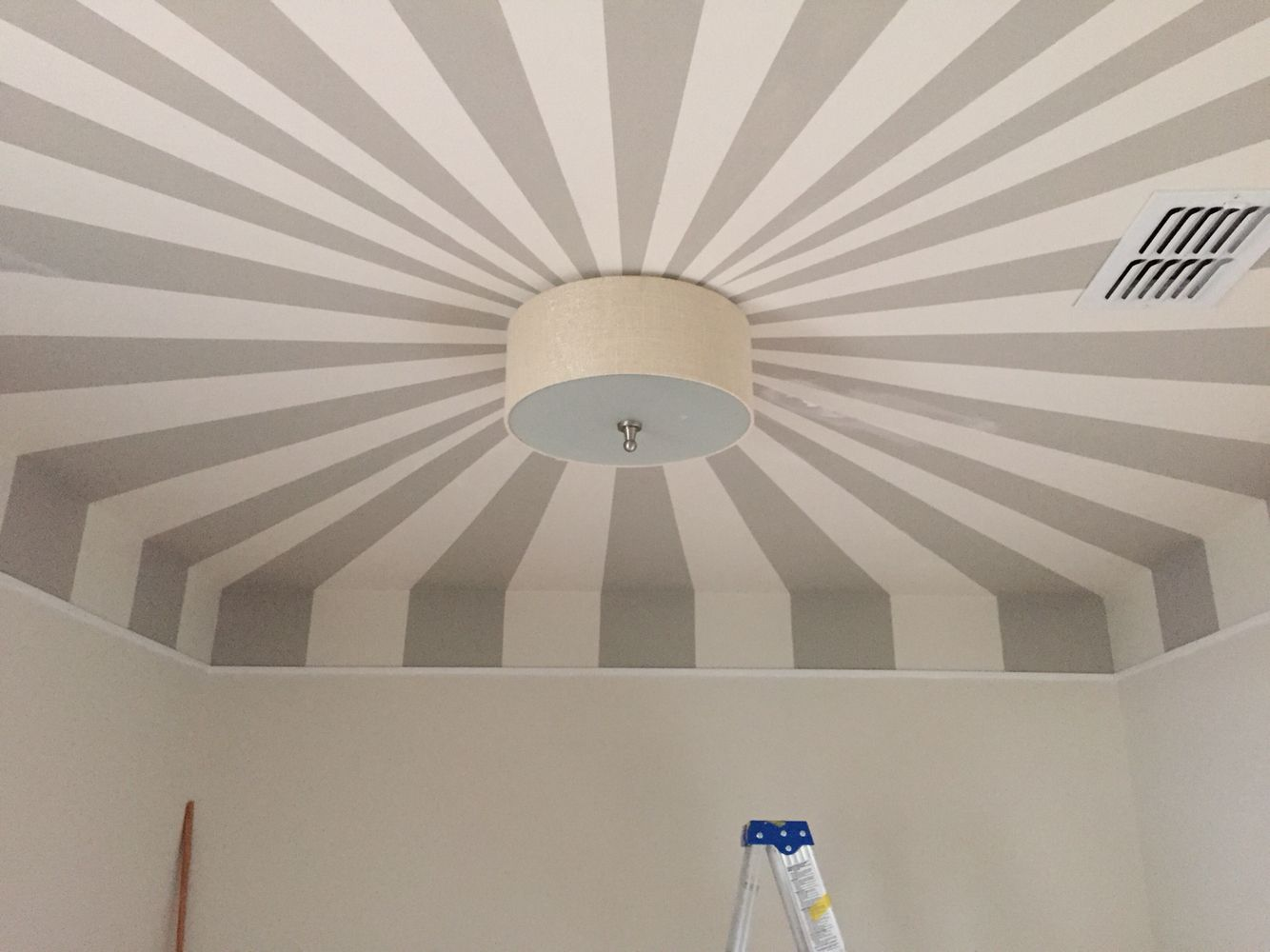 Circus tent ceiling in nursery painted by my husband with ...