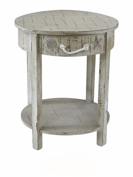 Seaside White Shell 1 Drawer Round Wood Accent Table By Crestview  Collection CVFZR1546 | Rustic Furniture Stores, Drawers And Rustic Furniture