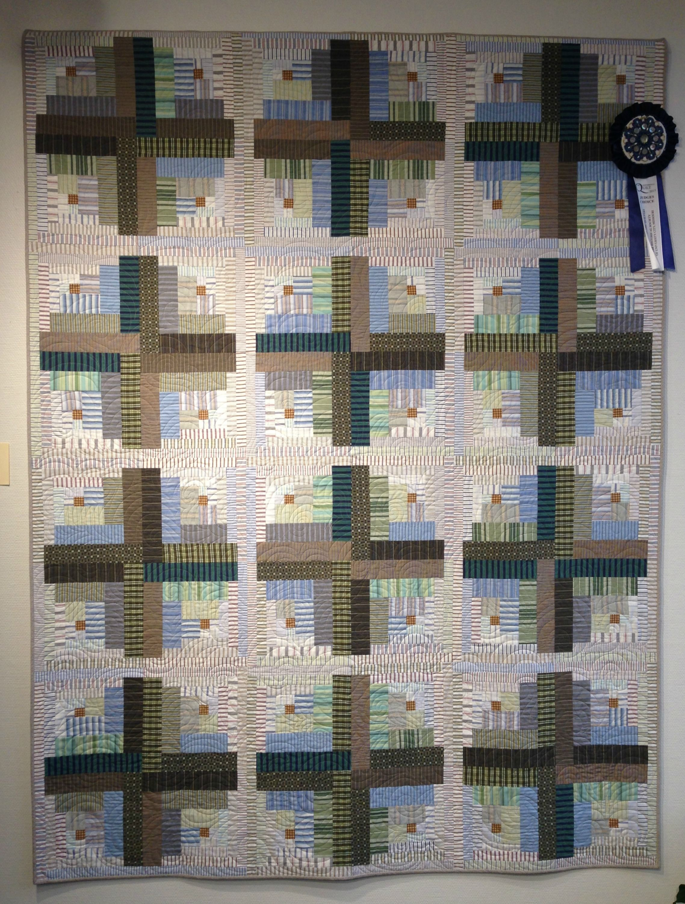 Made From Thrifted Shirts: Crop Circles Quilt (off Center Log Cabin) By