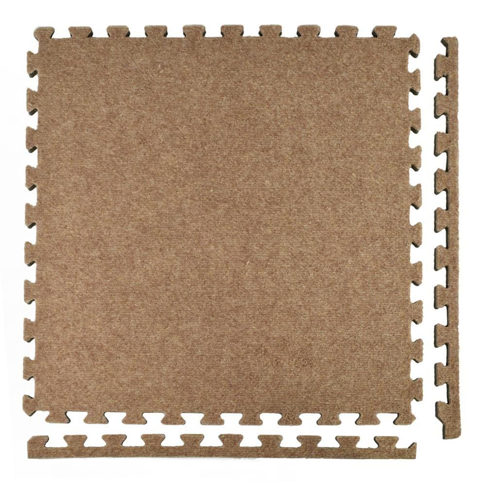 Greatmats Royal Carpet Tan Velour Plush 2 Ft X 2 Ft X 5 8 In