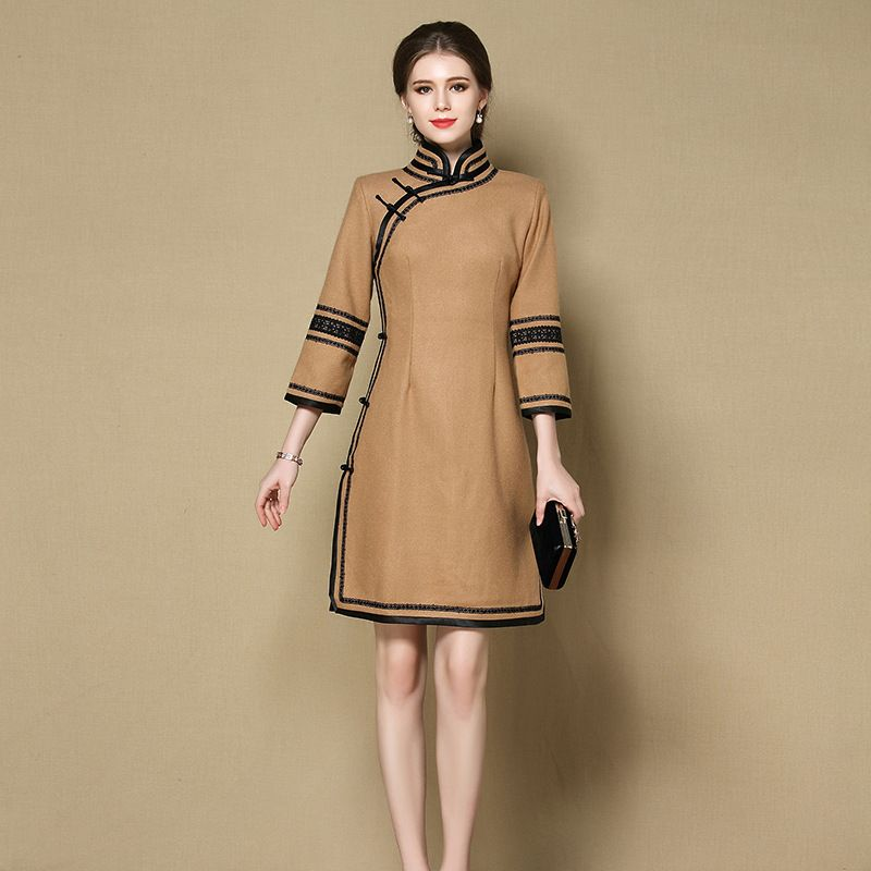 Impressive Woolen Qipao Chinese Dress Cheongsam - Brown - Qipao ...
