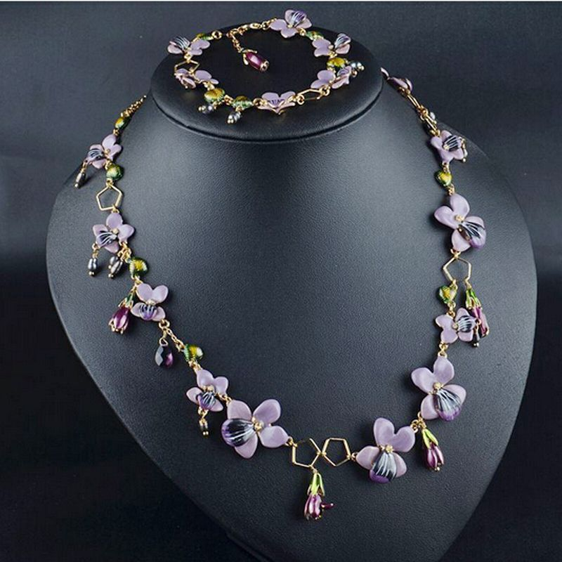 Orchid dress with necklace
