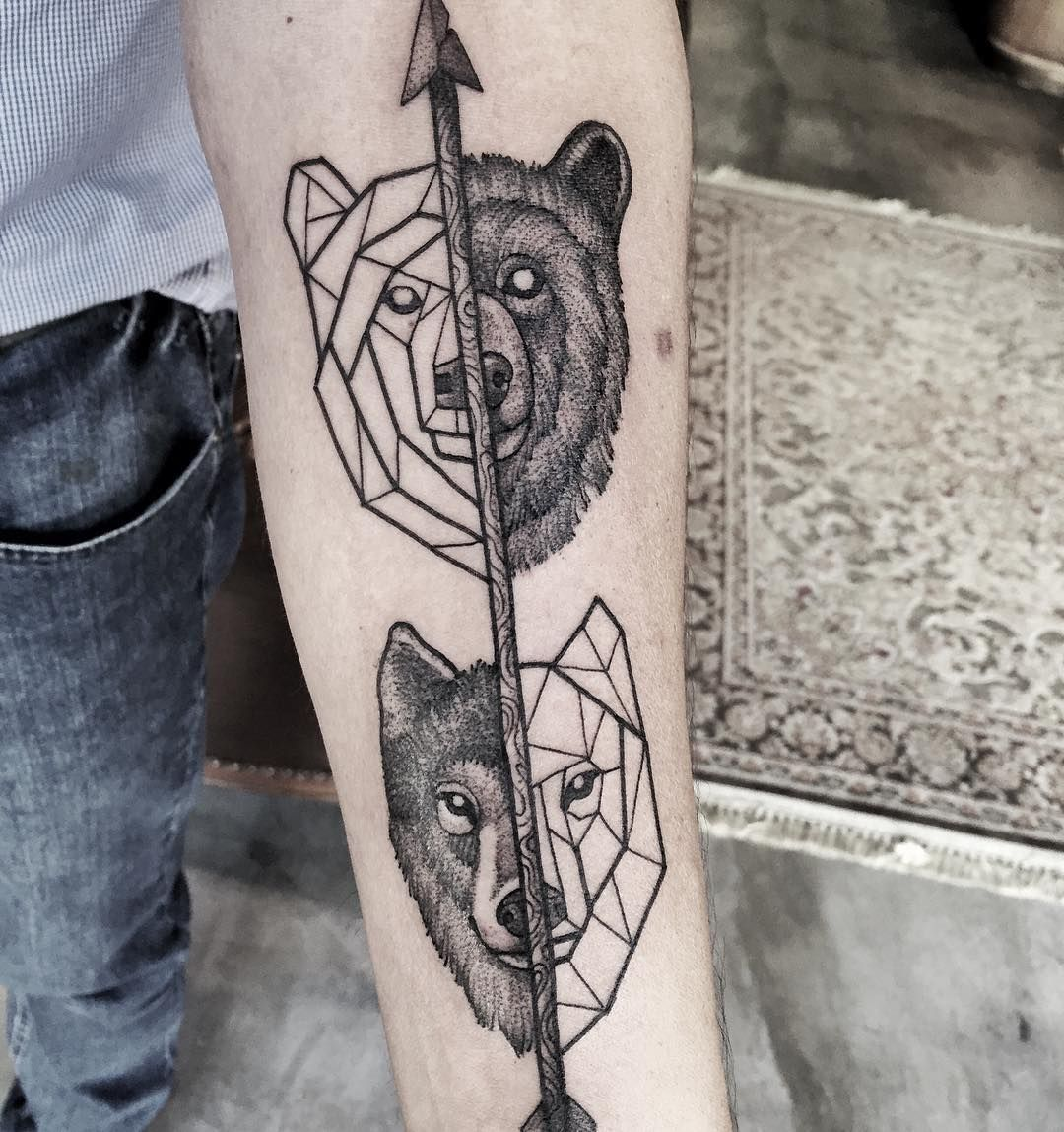 Bear And Wolf Tattoo Tatuaje Geométrico Tatuaje Oso Geométrico
