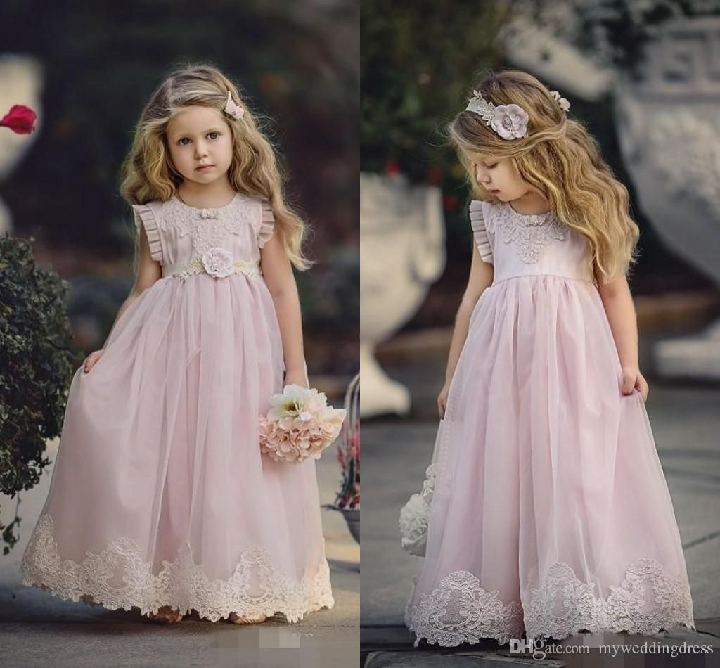 Pink halter little girls party dresses 2016 chiffon ruffles flower country cheap pink flower girl dresses for weddings ruffles lace appliqued tutu 2017 boho vintage beach little baby gowns for communion ombrellifo Images