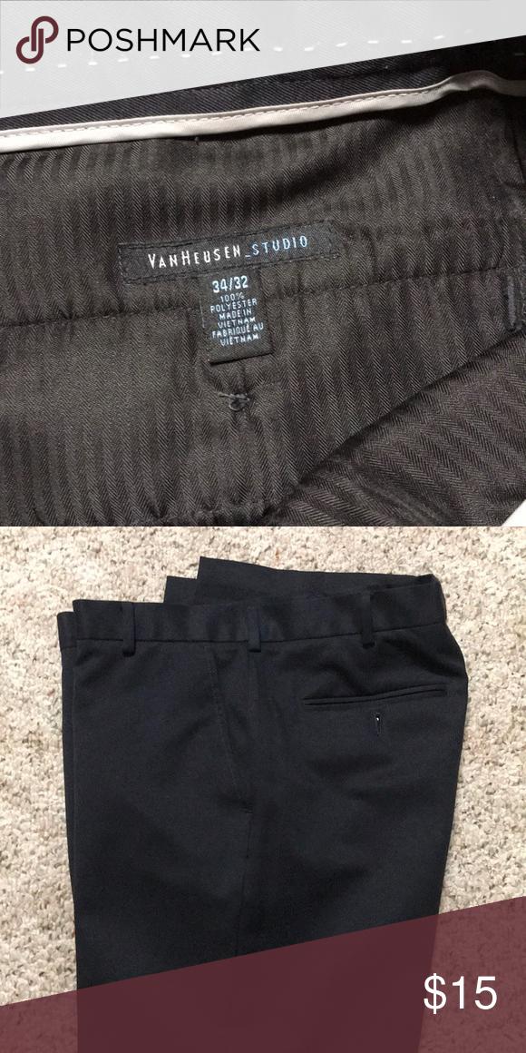 d952288785 Van Heusen Studio dress pants Excellent condition Van Hausen Studio black  flat front dress pant. Length 32. Van Heusen Pants Dress