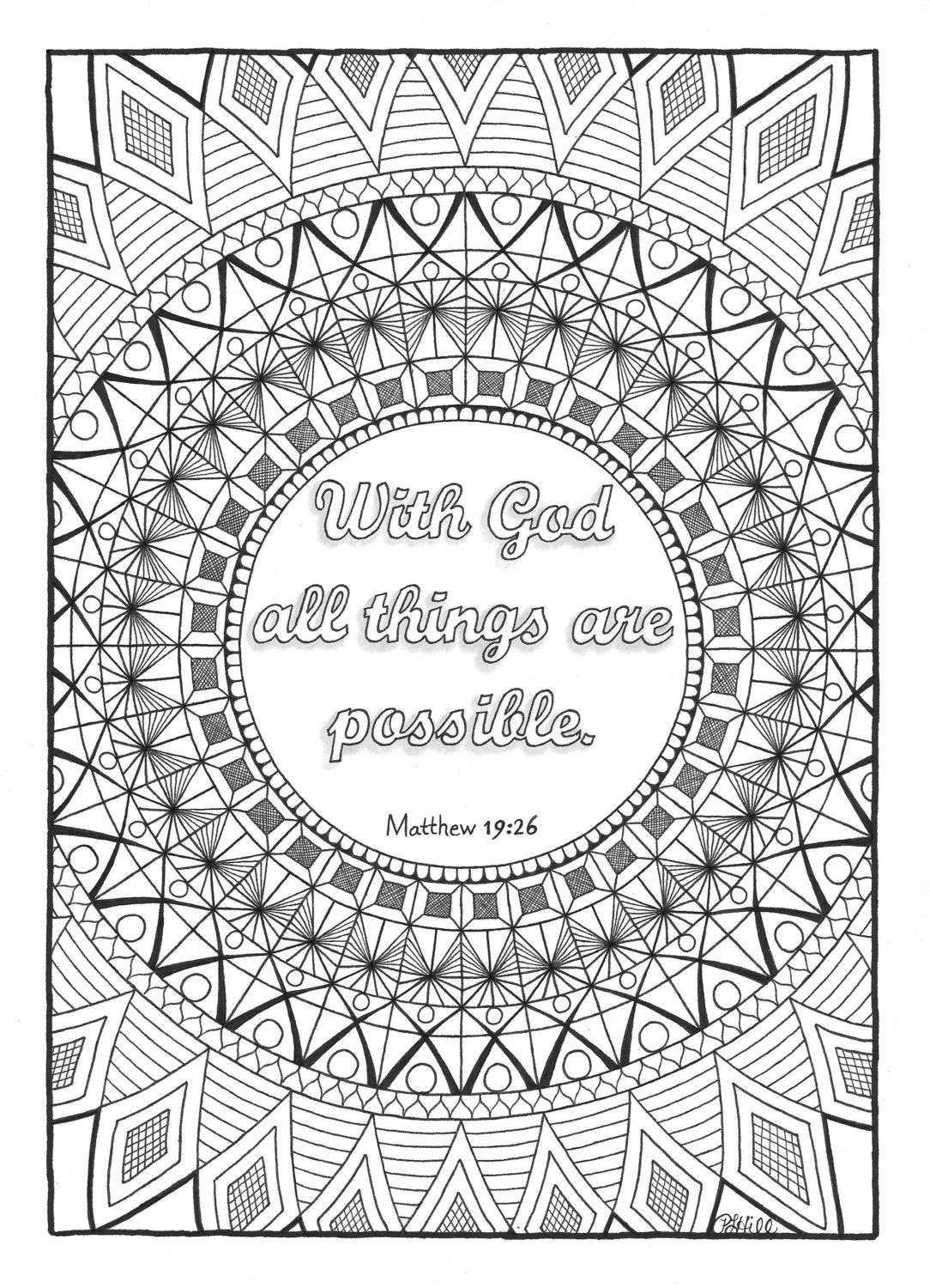 Matthew 19 26 With God All Things Are Possible Quote Coloring