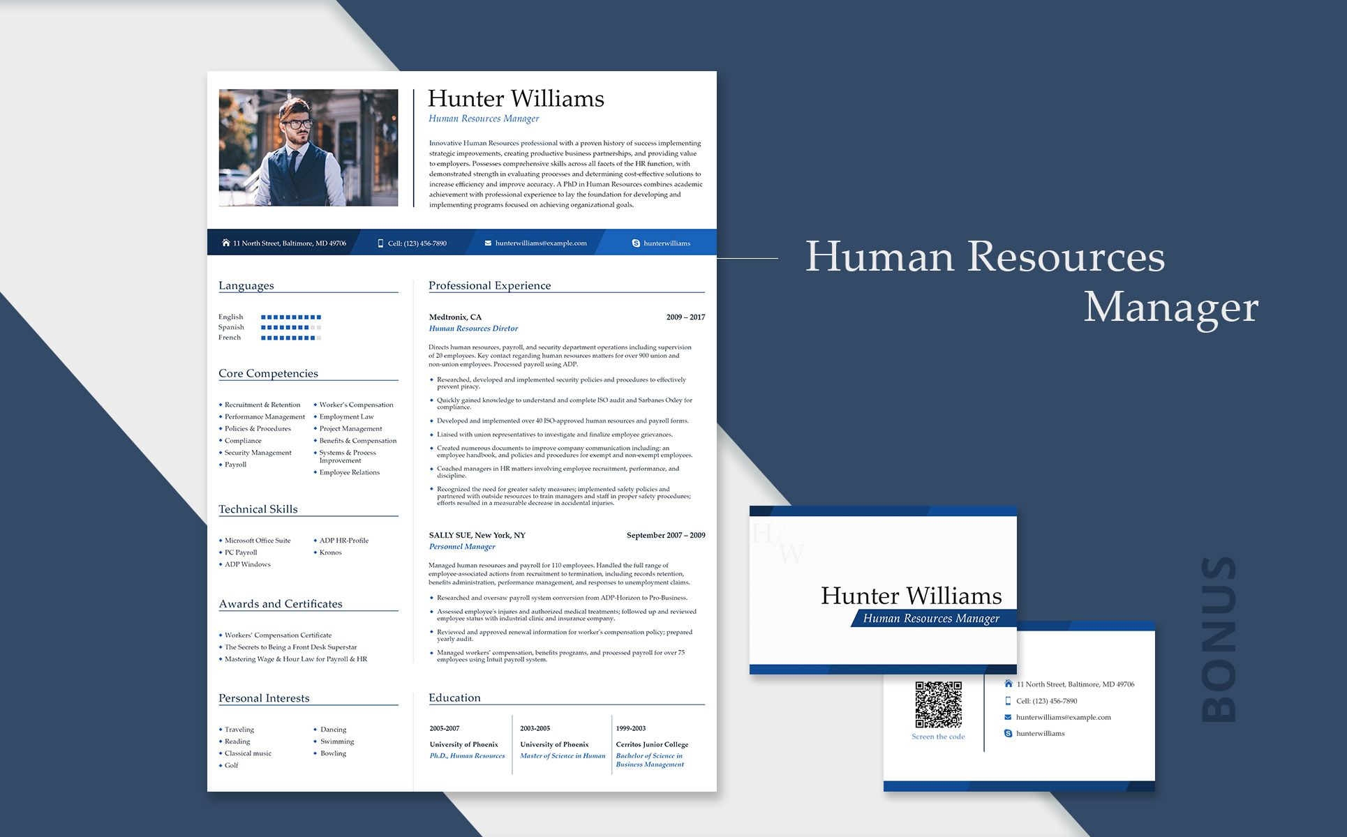 Hunter Williams Human Resources Manager Resume Template