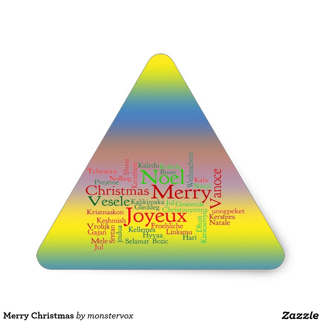 Merry Christmas Triangle Sticker #MerryChristmas #Christmas #Holiday #Sticker #Triangle