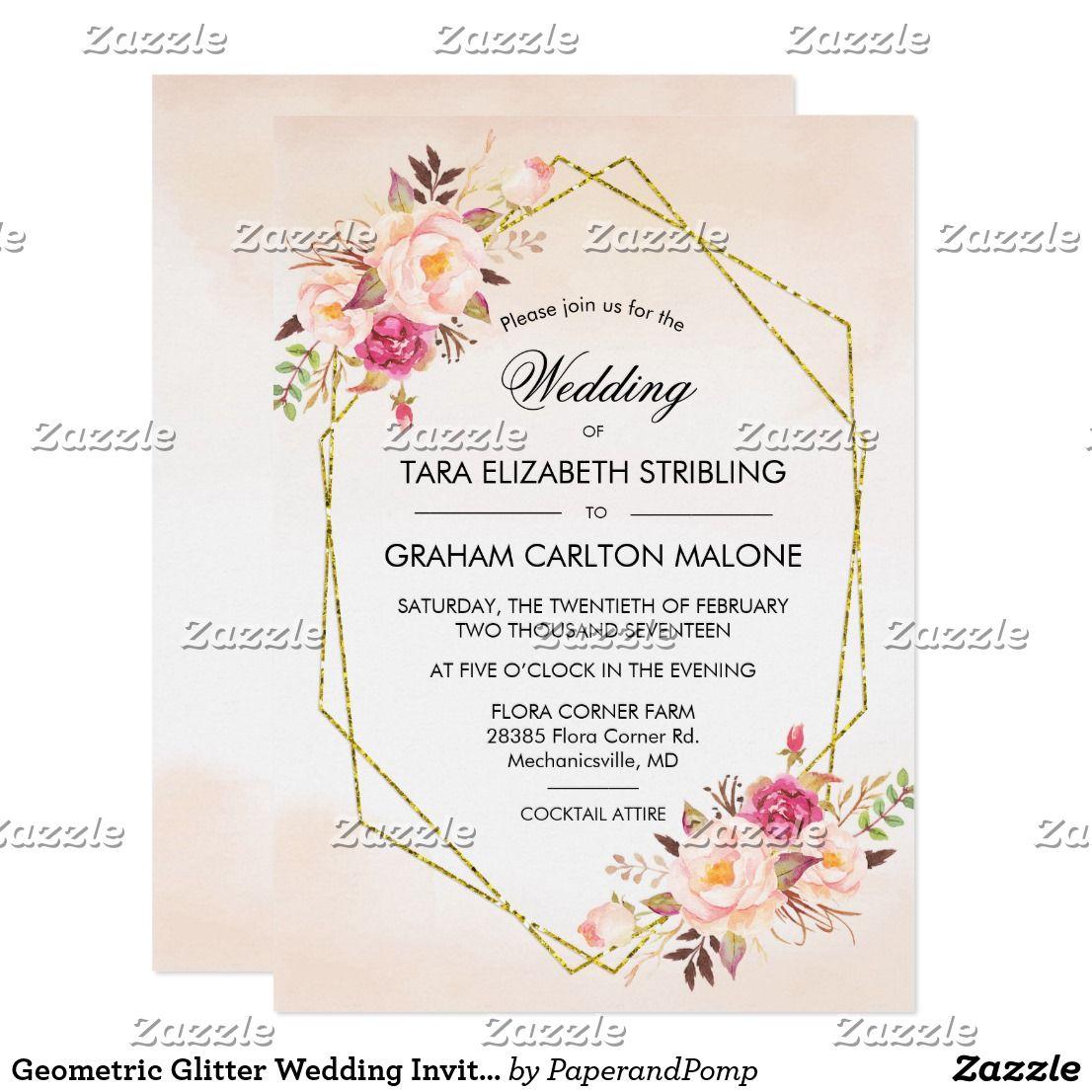 Geometric Glitter Wedding Invitation Zazzle Com Glitter Wedding Invitations Glitter Baby Shower Invitations Glitter Baby Shower