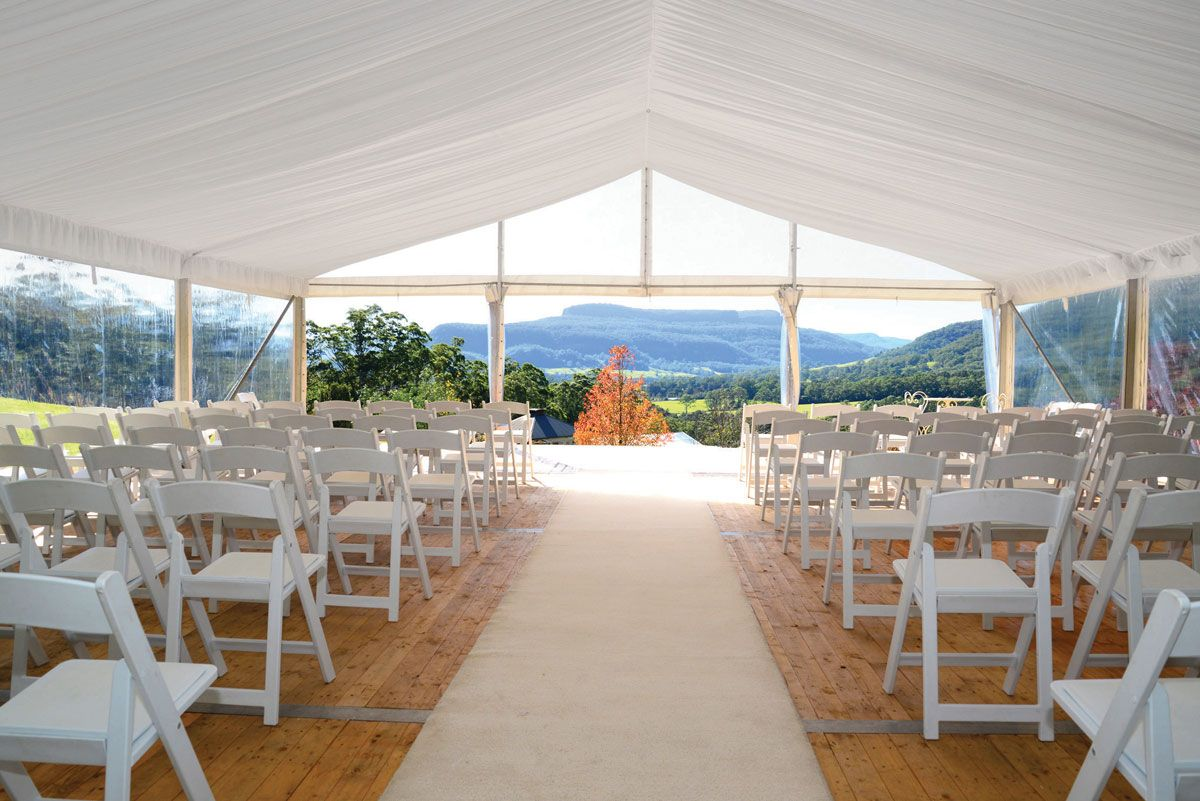 Clear Walled Marquee With Silk Lined Ceiling. Your Event