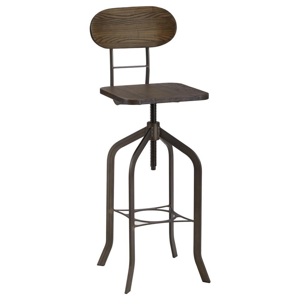 Tabouret de bar ajustable en bois et en m tal accessoires cuisine salle d ner furniture for Tabouret bar ajustable