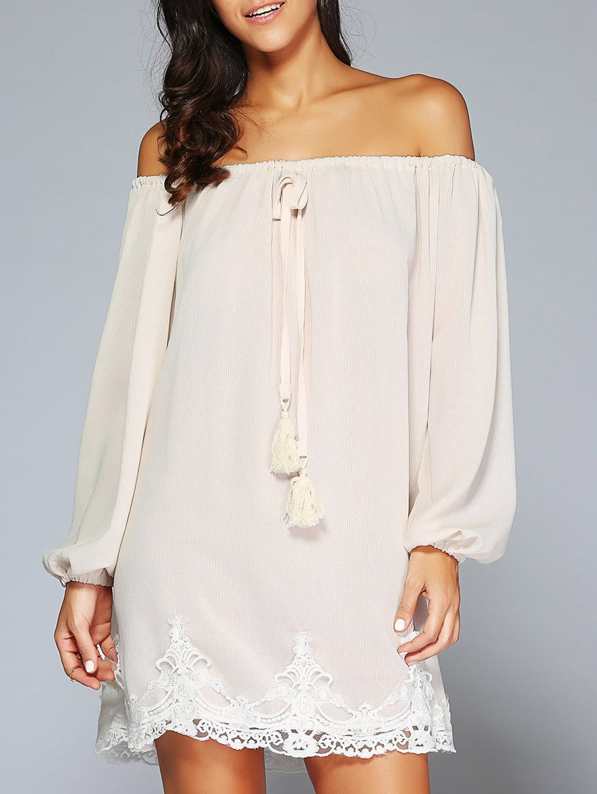 de0cc9a841 Off The Shoulder Patched Long Sleeve Cream Casual Dress - APRICOT M ...