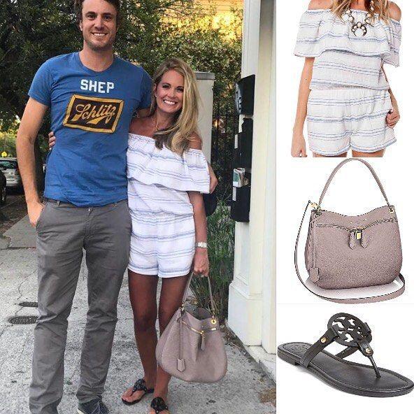 8302d2a4de79 Cameran Eubanks wore a BuddyLove romper Louis Vuitton bag and Tory Burch  sandals