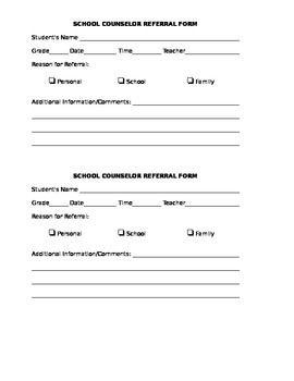 Counselor Referral Form  School Counseling Referral Form