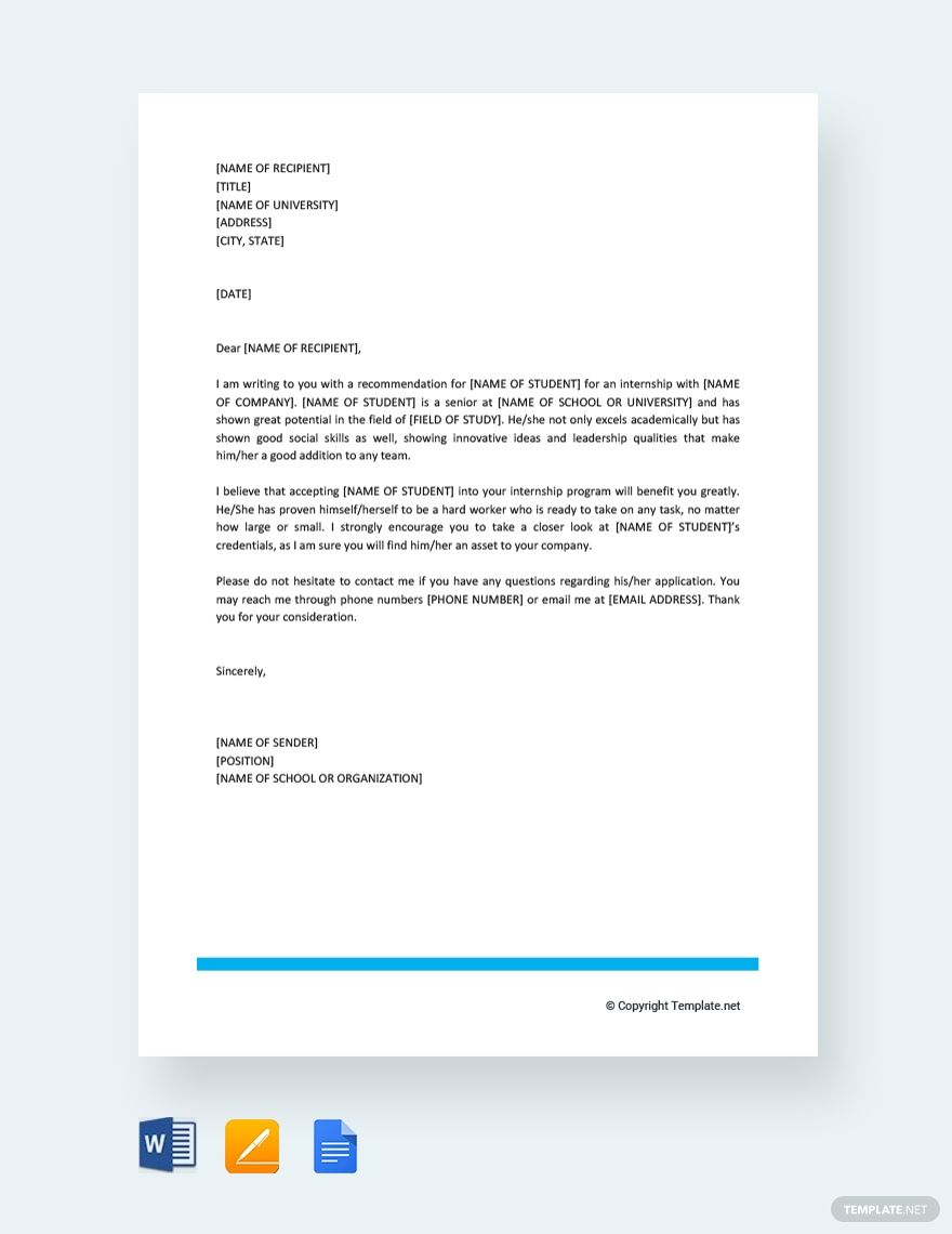 Free Letter Of Recommendation For Student Intern Lettering