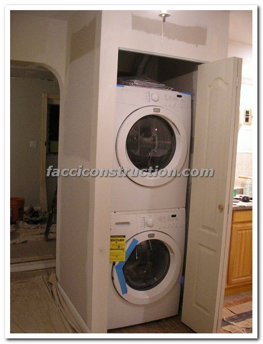 Washer And Dryer In Closet Laundry Room Storage Shelves Laundry