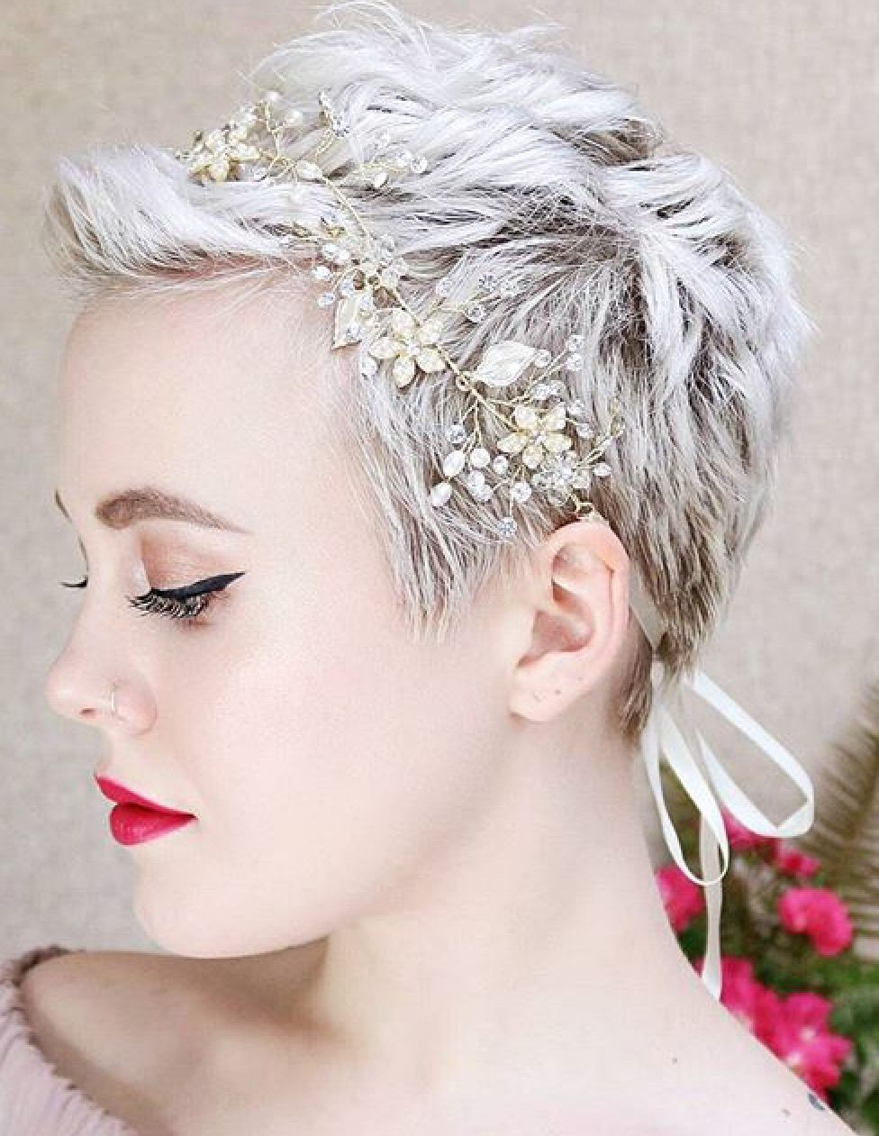 headband with a pixie   short hair don't care! in 2019