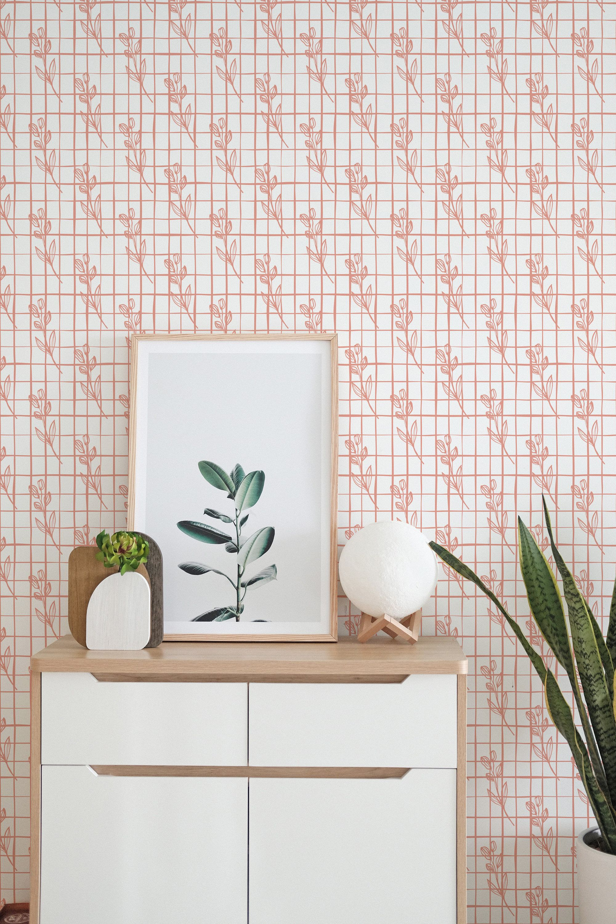 Grid And Flower Stick And Peel Wallpaper Botanical Pattern Etsy Paint Colors Benjamin Moore Botanical Pattern Wallpaper