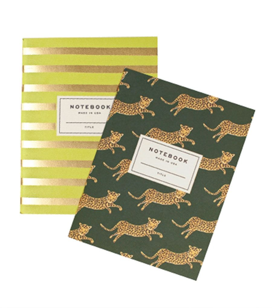 Pair of Safari Notebooks. If you were Margot Tenenbaum (I mean, not saying that you're not), this would be the notebook set for you. #catbird #catbirdnyc #riflepaper #notebooks #leopard #stripes #safarinotebook