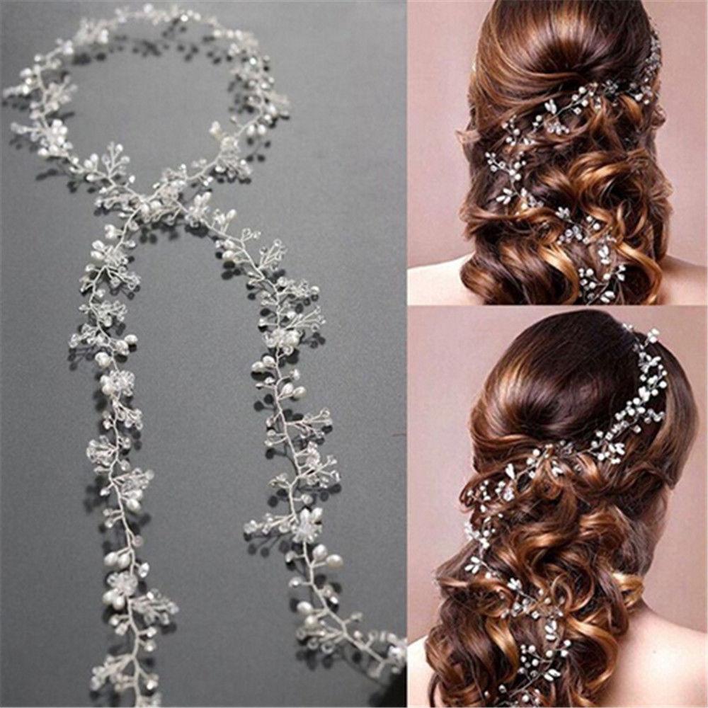 1 PROM Pearls Wedding Hair Vine Crystal Bridal Accessories Diamante Head piece