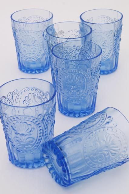 Ice Blue Pressed Glass Tumblers Embossed Pattern Glass Drinking Glasses Set Of 6 Glass Tumbler Blue Drinking Glasses Blue Glassware