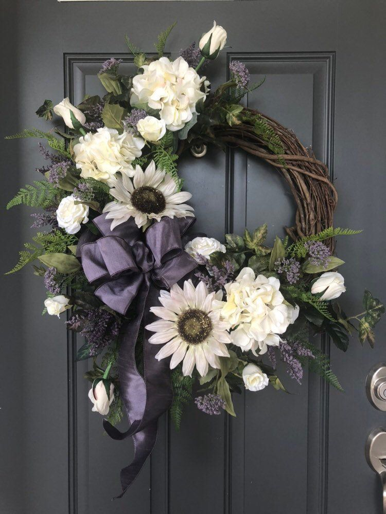 Photo of Elegant autumn roses, hydrangeas and sunflower wreath / autumn wreath / autumn door decor