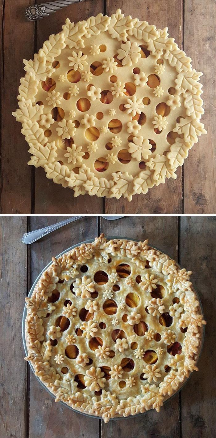 Esta cozinheira mostra as fotos do antes e depois de suas crostas de torta impressionantes #sweetpie