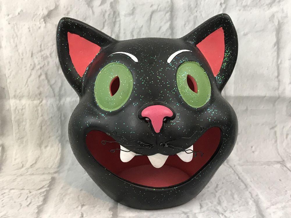 Ceramic Black Cat Head Tealight Candle Holder Halloween Decoration - halloween decorations black cat