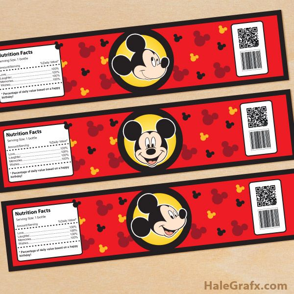 Unique FREE Printable Mickey Mouse Water Bottle Labels | ( Free  TJ99
