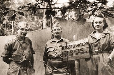 U.S. Army nurses from left: Lt Josephine Nesbitt, Capt M.C. Davison, and 2nd Lt Helen Hennessey, outside the nurse's quarters tent at Hospital No. 2 on Bataan. Josephine May Nesbit was second-in-command of the Angels of Bataan, Army nurses stationed...