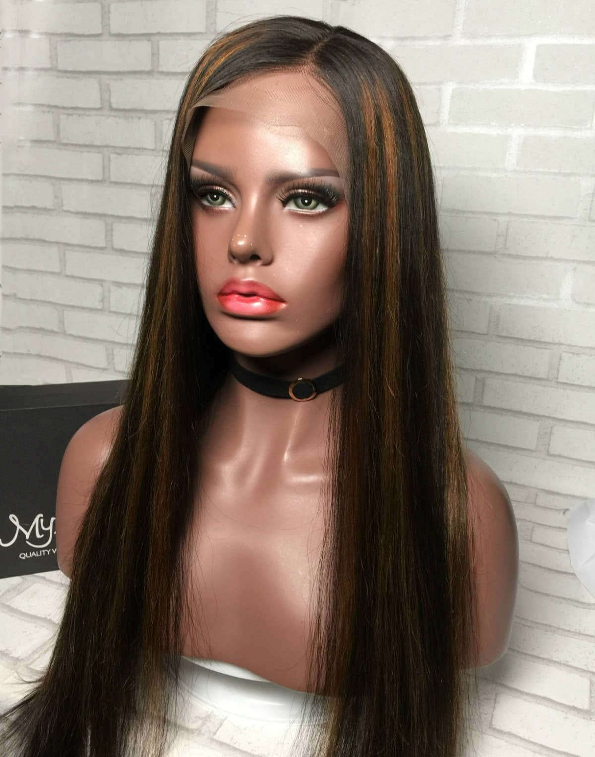 Dominique malaysian human hair highlight lace front wig