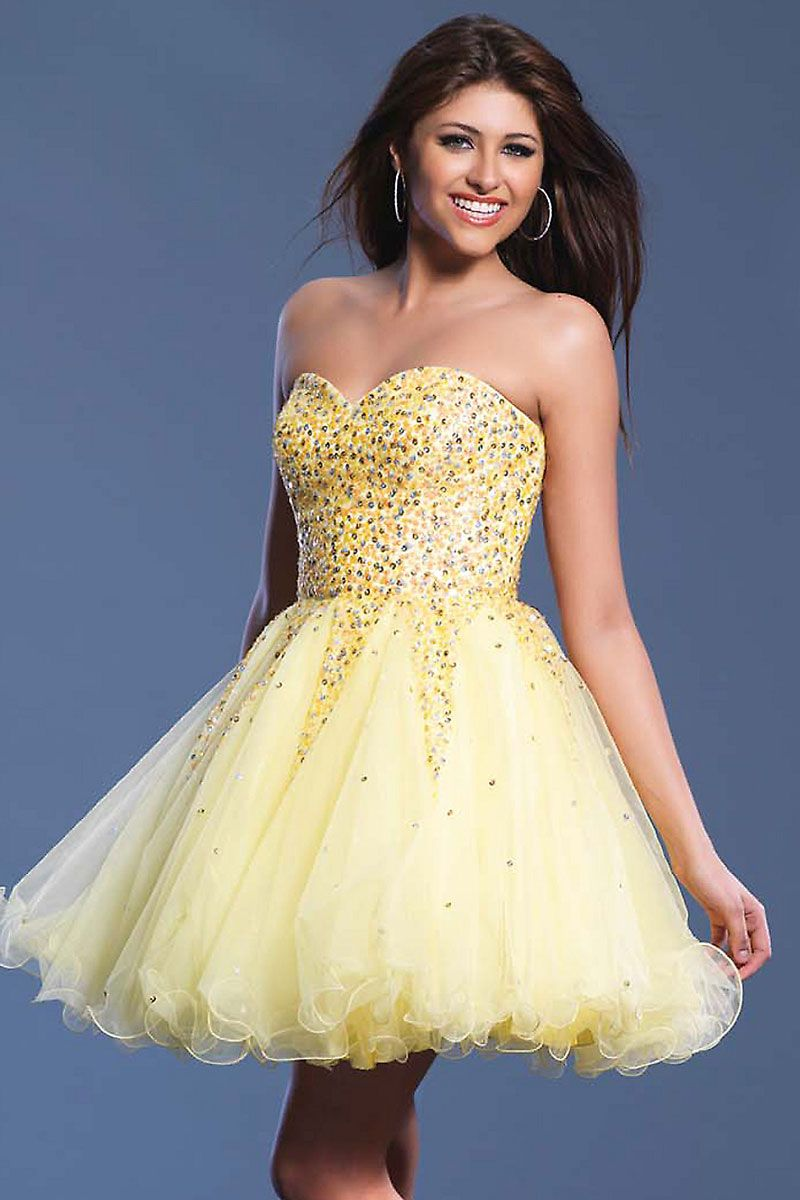 Cheap cute strapless beaded yellow tulle cocktail dress