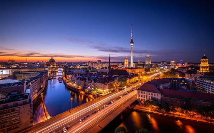 Download Wallpapers Berlin 4k Panorama Nighscapes Berlin Tv