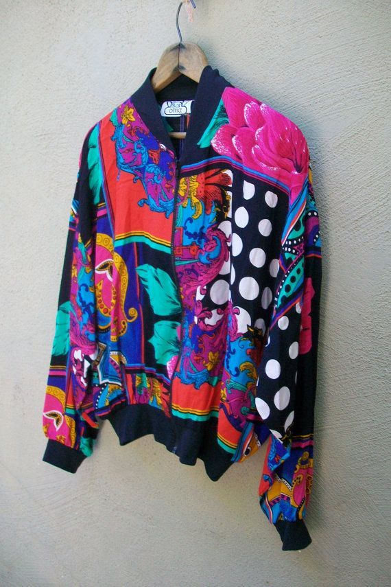 Crazy 80's Bomber Style Jacket // Light Weight // Bold // Graphic ... Crazy 80's Bomber Style Jacket // Light Weight // Bold // Graphic ... Woman Waistcoats crazy old woman waistcoat