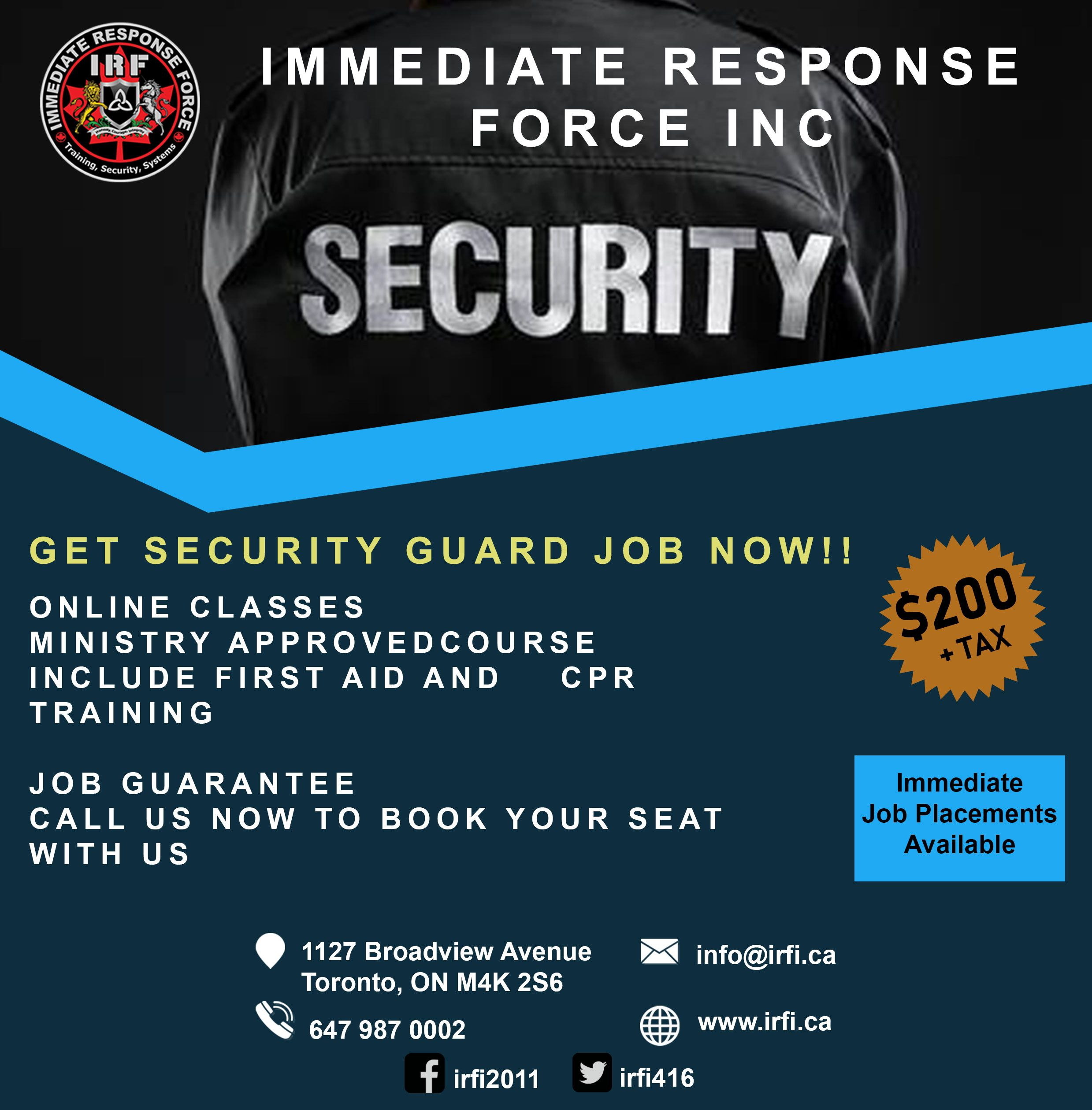 URGENT! WE NEED SECURITY GUARDS; CONTACT US for IMMEDIATE
