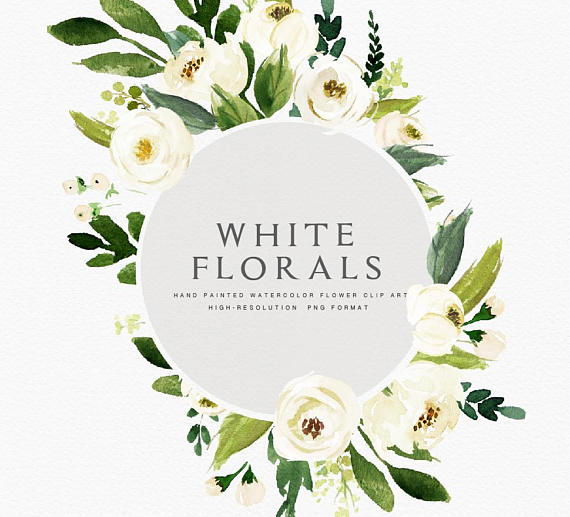 Watercolor Floral Clip Art Floral Frame Small Set Individual Png Files Hand Painted Wedding Design Bohemian Rustic Flower Clipart White Flower Clip Floral Watercolor