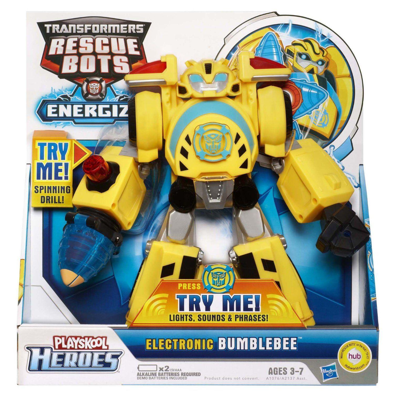 Amazon Com Transformers Playskool Heroes Rescue Bots Energize Electronic Bumblebee Figure Toys Games Transformers Rescue Bots Rescue Bots Transformers