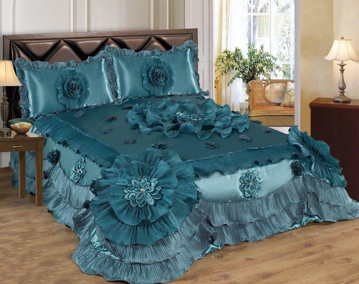 Amazon Queen Bleu amazon: 3 piece real 3d comforter set bedspread flower